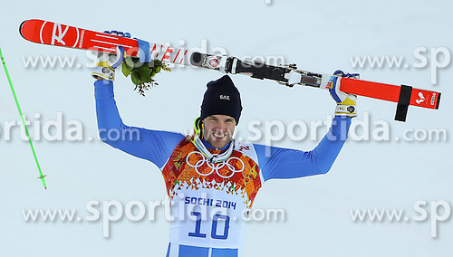 14.02.2014, Rosa Khutor Alpine Center, Krasnaya Polyana, RUS, Sochi, 2014, Super- Kombination, Herren, Flower Ceremonie, im Bild Bronzemedaillen Gewinner Christof Innerhofer (ITA) // Bronze Medalist Christof Innerhofer of Italy during the Flower Ceremony of the mens Super Combined of the Olympic Winter Games 'Sochi 2014' at the Rosa Khutor Alpine Center, Krasnaya Polyana, Russia on 2014/02/14. EXPA Pictures &copy; 2014, PhotoCredit: EXPA/ Minkoff<br /> <br /> *****ATTENTION - OUT of GER*****