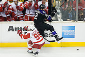 Matt Greene (Los Angeles Kings, #2) hits Tomas Holmstrom (Detroit Red Wings, #96) during ice-hockey match between Los Angeles Kings and Detroit Red Wings in NHL league, February 28, 2011 at Staples Center, Los Angeles, USA. (Photo By Matic Klansek Velej / Sportida.com)