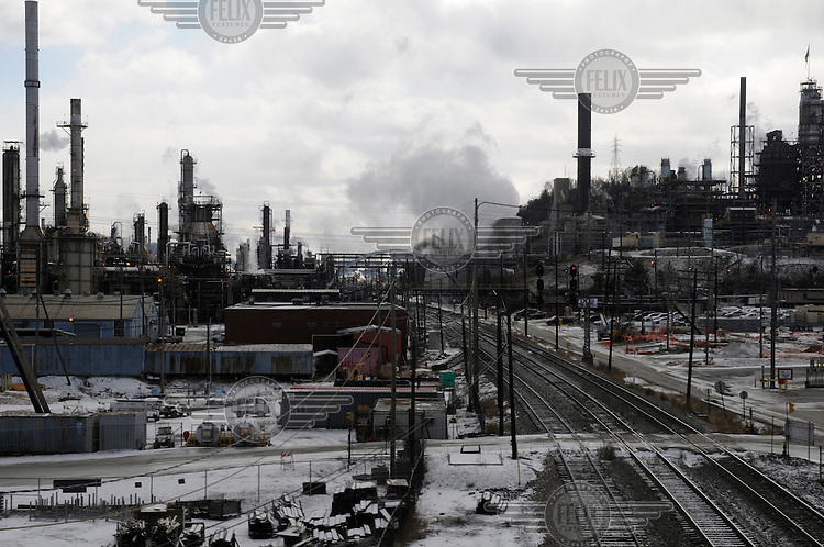 Catlettsburg Oil Refinery (Marathon Oil Corporation) in Catlettsburg, Kentucky. Built in 1922 it is now the US's 29th largest refinery and on average supplies 2 percent of the US oil supply..