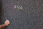September 14, 2011. Raleigh, NC. . Ava Pearce spells her name with cut up straws.. Project Enlightenment, a public pre-kindergarten program for at risk children, has been threatened with closure due to state wide budget cuts..