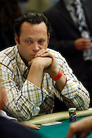 3 March 2007: Celebrity actor Vince Vaughn plays a poker hand  during the fifth annual WPT Invitational at the Commerce Casino in Los Angeles, CA.