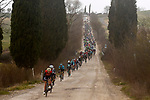 The peloton on gravel sector 2 Bagnaia during the 2017 Strade Bianche running 175km from Siena to Siena, Tuscany, Italy 4th March 2017.<br /> Picture: La Presse/Fabio Ferrari | Newsfile<br /> <br /> <br /> All photos usage must carry mandatory copyright credit (&copy; Newsfile | La Presse)