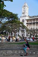 Stone Town, Zanzibar, Tanzania.  Forodhani Gardens.  Beit El Ajaib, former Sultan's Palace, in background, now a national museum.