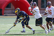 College Park, MD - April 1, 2017: Michigan Wolverines Chase Young (3) gets the groundball during game between Michigan and Maryland at  Capital One Field at Maryland Stadium in College Park, MD.  (Photo by Elliott Brown/Media Images International)