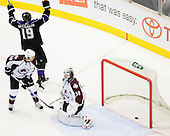 Kevin Westgarth (Los Angeles Kings, #19) celebrate during ice-hockey match between Los Angeles Kings and Colorado Avalanche in NHL league, February 26, 2011 at Staples Center, Los Angeles, USA. (Photo By Matic Klansek Velej / Sportida.com)