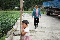 A woman and child in the town of Heishui on the south-east edge of the Tibetan Plateau in Sichuan Province, western China.