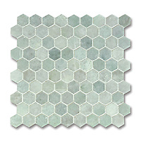 3 cm Hex, shown in polished Ming Green is part of New Ravenna's Studio Line. All mosaics in this collection are ready to ship within 48 hours.<br />