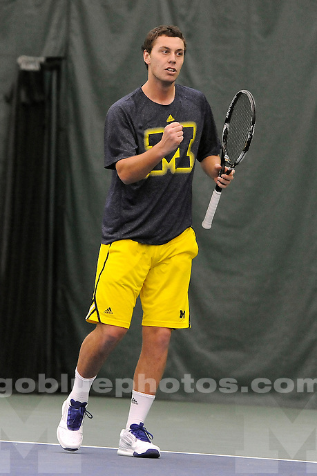 The University of Michigan men's tennis team drops a 4-3 decision to North Carolina State at the Varsity Tennis Center in Ann Arbor, Mich. on Feb. 2, 2014.