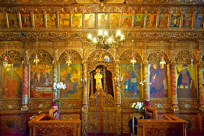 Iconostasis of the 12th century Byzantine Holy Church of Nea Megali Panagia, restored 1727, Thesalonica, Greece
