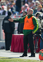 26 March 2011: Portland Timbers head coach John Spencer shouts out instructions to his players during an MLS game between the Portland Timbers and the Toronto FC at BMO Field in Toronto, Ontario Canada..Toronto FC won 2-0....