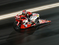 Jul 23, 2016; Morrison, CO, USA; NHRA pro stock motorcycle rider Hector Arana Sr during qualifying for the Mile High Nationals at Bandimere Speedway. Mandatory Credit: Mark J. Rebilas-USA TODAY Sports