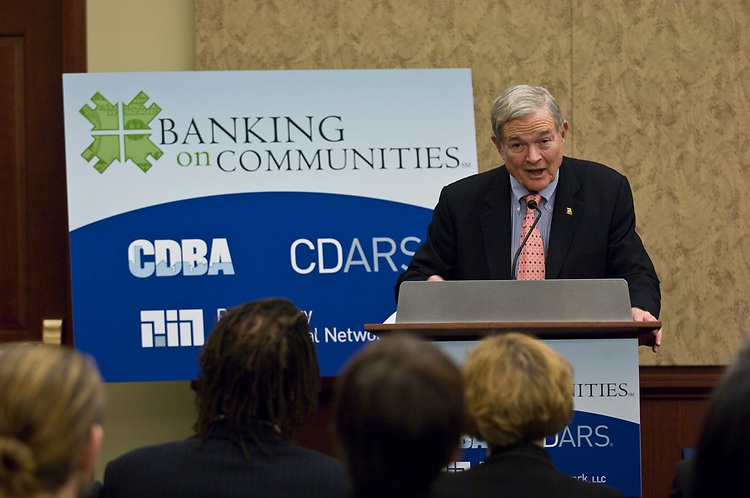 WASHINGTON, DC - Dec. 09: Sen. Christopher S. Bond, R-Mo., speaks at an event commemorating the extension of the Banking on Communities Initiative. The event was sponsored by the Community Development Bankers Association (CDBA) and Promontory Interfinancial Network at the U.S. Capitol. (Photo by Scott J. Ferrell/Congressional Quarterly)