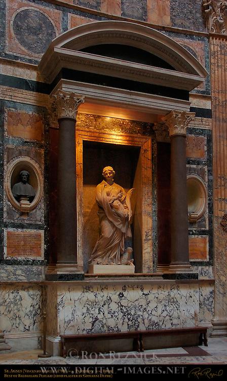 Pantheon interior architectural detail Bust of Baldassare Peruzzi Giovanni Dupre St Agnes Vincenzo Felici Porphyry Columns and Pilasters White Marble Corinthian Capitals Pantheon Campus Martius Rome