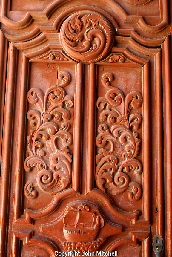 Door of the Parroquia San Pedro church in the 19th century mining town of Mineral de Pozos, Guanajuato, Mexico...