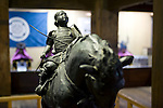 A bronze statue of a Samurai warrior stands in the museum inside the main keep of Matsue Castle, Matsue City, Shimane Prefecture, Japan on 26 June 2011. The city's castle, which is one of only 12 originals that remain from medieval times, this year celebrates the 400th anniversary of its completion..Photographer: Robert Gilhooly