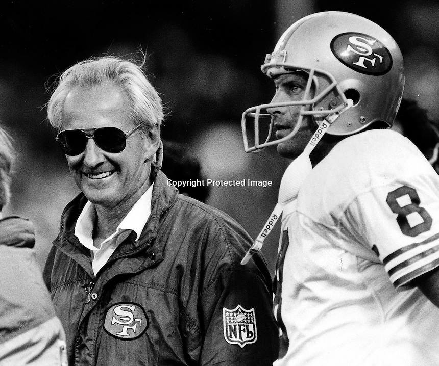 49er coach George Siefert and quarterback  Steve Young.(1992 photo by Ron Riesterer)