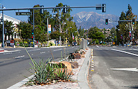 "Mt. Baldy (Mount San Antonio) seen from the southern side of the Diamond Bar Boulevard and Grand Avenue intersection in Diamond Bar.  Rocks, median art, and flowering plants (yellow yuccas - Hesperaloe parviflora) are all visible, including a car.  The stoplight is showing all green lights and a green left turn signal. This was part of the 2015 rebuild of the Grand Avenue and Diamond Bar Boulevard intersection for Diamond Bar's 2015 ""Grand Avenue Beautification"" project, landscape architecture for the project was by David Volz Design."