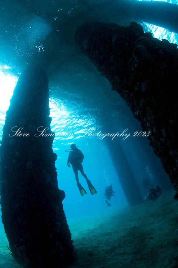Heather diving the Frederiksted Pier<br /> St. Croix<br /> U.S. Virgin Islands