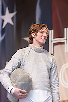 USA Olympic Fencing team member Jeff Spear participates in the Road to London 100 Days Out Celebration in Times Square in New York City, New York, USA on Wednesday, April 18, 2012.  Times Square was transformed into an Olympic Village for the event.