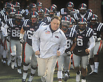 Ole Miss coach Houston Nutt leads the team onto the field vs. Louisiana-Lafayette in Oxford, Miss. on Saturday, November 6, 2010. Ole Miss won 43-21.