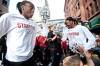 DENVER, CO--Nneka Ogwumike and sister Chiney Ogwumike dance to the band sendoff at the Brown Palace hotel before the semifinals of the 2012 NCAA Women's Final Four in Denver, CO.