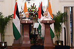 Palestinian President Mahmoud Abbas and Indian Prime Minister Narendra Modi take part in a press conference in New Delhi on May 16, 2107. Palestinian President Mahmoud Abbas is on a four-day state visit to India until May 17. Photo by Thaer Ganaim