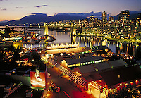cityscape of Granville Island and Burrard Bridge at dusk. Vancouver, Canada British Columbia.