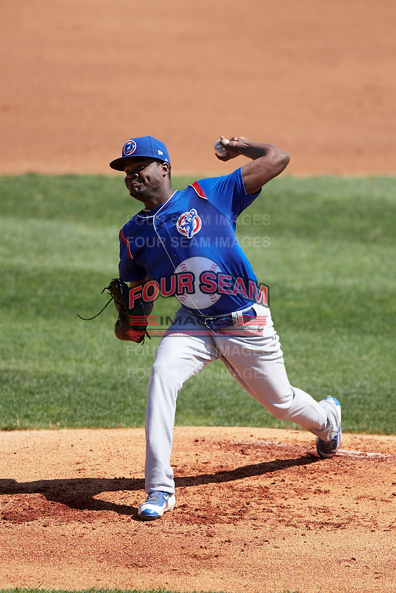 South Bend Cubs starting pitcher Jose Paulino (46) during a game against the Lake County Captains on July 27, 2016 at Classic Park in Eastlake, Ohio.  Lake County defeated South Bend 5-4.  (Mike Janes/Four Seam Images)