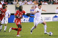 Kenny Cooper (17) of the United States (USA) is marked by Felipe Baloy (23) of Panama. The United States (USA) defeated Panama (PAN) 2-1 during a quarterfinal match of the CONCACAF Gold Cup at Lincoln Financial Field in Philadelphia, PA, on July 18, 2009.