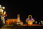 Tiananmen Square, in Beijing China, lit up at night during the Golden Week national holiday celebration