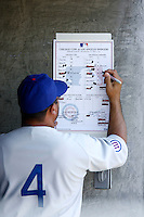 4 May 2011: Coach Pat Listach adjusts the batting lineup in the dugout while the Cubs defeated the Dodgers 5-1 during a Major League Baseball game at Dodger Stadium in Los Angeles, California.  Dodgers players are wearing Brooklyn Dodger 1940's throwback jersey uniforms and the Cubs are also wearing throwback retro jersey uniforms. **Editorial Use Only**