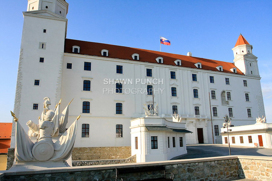 Front angled view of Bratislava Castle.