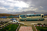 A bus carrying Iraqis from Baghdad arrives at a new vacation development near the Bekhal waterfalls. Although international tourism is almost non-existent, Kurdistan is a major destination for Iraqis seeking to escape the violence that has plagued the country follwing the US invasion in 2003....Stability and security prevail in postwar Iraqi Kurdistan as Iraqi tourists, many of them from Baghdad, flock to the northern cities and their amusement parks and national parks to escape violence and sectarian strife in the central and southern regions of the country.