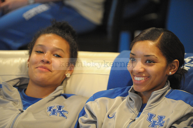 Azia Bishop(left) and Keyla Snowden during the Women's Basketball Selection Show at UK head coach Matthew Mitchell's house in Lexington, Ky., on 3/12/12. Photo by Mike Weaver | Staff