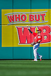 19 September 2015: Washington Nationals outfielder Bryce Harper tosses back to the infield after making the out during a game against the Miami Marlins at Nationals Park in Washington, DC. The Nationals defeated the Marlins 5-2 in the third game of their 4-game series. Mandatory Credit: Ed Wolfstein Photo *** RAW (NEF) Image File Available ***
