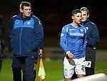 Motherwell v St Johnstone..30.12.15  SPFL  Fir Park, Motherwell<br /> Manager Tommy Wright watches as Michael O'Halloran is subbed<br /> Picture by Graeme Hart.<br /> Copyright Perthshire Picture Agency<br /> Tel: 01738 623350  Mobile: 07990 594431