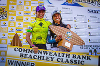 """DEE WHY, Sydney NSW/AUS (Saturday, April 21, 2012) Courtney Conlogue (USA) and Malia Manuel (HAW).  The Finals of the 2012 Commonwealth Bank Beachley Classic were completed today with Courtney Conlogue (USA) defeating Malia Manuel (HAW) for her first elite women's tour event win. Both finalist had never made it as far before in an ASP World Tour event. The surf was clean, with two-to-three foot (1.5 meter) waves on offer for the Top 17 female surfers in the world to battle for the richest prize purse on the ASP Womens World Championship Tour.. .Stop No. 4 of 7 on the 2012 ASP Womens World Championship Tour, the Commonwealth Bank Beachley Classic is run by seven-time ASP Womens World Champion Layne Beachley, and is in its seventh year.. .""""There are a lot of sevens in my life at the moment,"""" Beachley said. """"I'm so proud I've been able to run this event for seven years. I'm really appreciative of the Commonwealth Bank's support and am thrilled with the level of women's surfing. It's Finals day today. We've had a decrease in swell, but the girls are incredible at what they do and I'm sure they'll be able to put on a great show today. I'll be getting in the water later in the day for the celebrity challenge, and the Nikon Expression Session."""" .Manuel defeated Stephanie Gilmore (AUS) in the quarterfinals and Conlogue defeated Sally Fitzgibbons (AUS) also in the quarterfinals. Gilmore remains number one on the world tour ratings with Fitzgibbons in second place. Photo: joliphotos.com"""