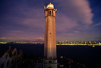 Lighthouse on Alcatraz Island near San Francisco.  The famed island was used as a prison, but today the National Park Service oversees the facility for tours.