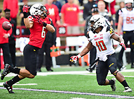 College Park, MD - APR 22, 2016: Maryland Terrapins defensive back Milan Collins (6) drops an interception during the 2017 Spring game at Capital One Field at Maryland Stadium in College Park, MD. (Photo by Phil Peters/Media Images International)