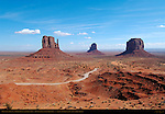 West and East Mittens and Merrick Butte, Loop Road, Monument Valley Navajo Tribal Park, Navajo Nation Reservation, Utah/Arizona Border