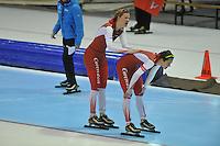 SCHAATSEN: HEERENVEEN: 29-12-2013, IJsstadion Thialf, KNSB Kwalificatie Toernooi (KKT), 1500m, Lotte van Beek, Marrit Leenstra, ©foto Martin de Jong