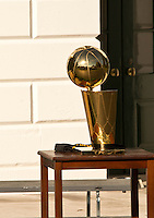Washington DC, November 10, 2016, USA:The NBA Trophy sits on a pedistal.  President Barack Obama welcomes the 2015 NBA Champions Cleveland Cavaliers on the South Lawn of the White House. Patsy LynchMediaPunch