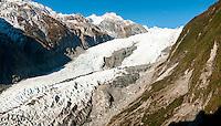 Franz Josef Glacier as seen from near Castle Rock Hut on Defiance Ridge, Westland Tai Poutini National Park, UNESCO World Heritage Area, West Coast, New Zealand, NZ