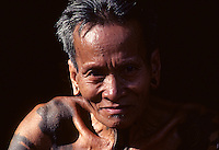 Ibnan Warrior in Borneo, Malaysia, these people used to be headhunter in the Jungles of Borneo