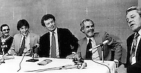 A's announce broadcast team of Bill King and Lon Simmons on the far left Billy Martin and A's excutive Roy Eisenhardt and KFSO GM Jim Myers at table.  (1978 photo/Ron Riesterer)