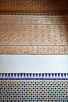 Berber Arabesque Mocarabe plasterwork and Zellige tiles .The Petite Court, Bahia Palace, Marrakesh, Morroco