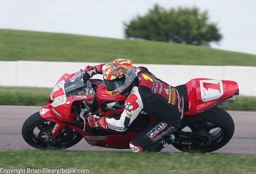 AMA Sportbike racer Jake Zemke races though a turn duringthe Tornado Nationals at Heartland Park Topeka, in Topeka, Kansas,August 1, 2009. (Photo by Brian Cleary/www.bcpix.com)