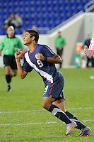 Mario Rodriguez (9) of the USA celebrates scoring. The USMNT U-17 defeated New York Red Bulls U-18 4-1 during a friendly at Red Bull Arena in Harrison, NJ, on October 09, 2010.