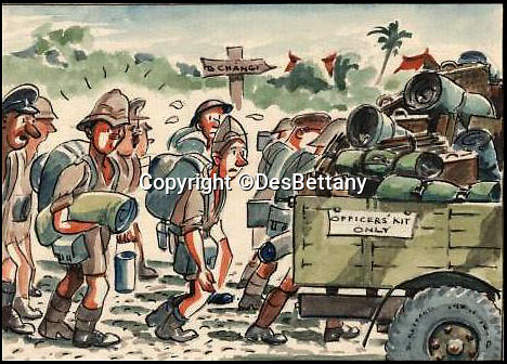 BNPS.co.uk (01202 558833)<br /> Pic: DesBettany/BNPS<br /> <br /> ***Please Use Full Byline***<br /> <br /> Long march to Changi. <br /> <br /> The family of a Prisoner of War who drew for his captured comrades are being inundated with his lost art work 70 years later after issuing an appeal to find it.<br /> <br /> Nearly 60 poignant paintings by the late Des Bettany have been found by the relatives of those who he served alongside in World War Two.<br /> <br /> The talented artist-turned-soldier spent three years in a Japanese PoW camp and created amusing cartoons which he often gave away to help keep up the morale of the men.<br /> <br /> His son Keith, 62, launched a website to help uncover his father's artistic legacy and has been astonished by the response from the families of PoWs around the world.