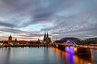 Cologne skyline and Hohenzollern Bridge over Rhine River, Cologne, Germany, Europe
